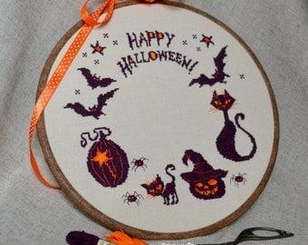 Happy Halloween! Cross Stitch Pattern PDF - Instant download Halloween Décor Halloween cross stitch pattern Halloween Sampler Scary pumpkin