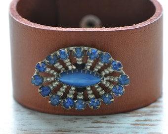 Brown boho cuff, leather cuff bracelet, boho jewellery, vintage jewellery, boho chic bracelet, hippie style,  handmade by Anyasophiaco