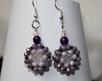 Disc earrings with beads and crystals