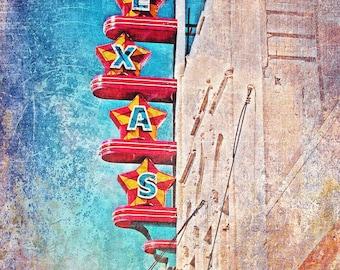 """Dallas, Texas - """"Dallas Oak Cliff Texas Theater Purple""""-(image is vertical)"""