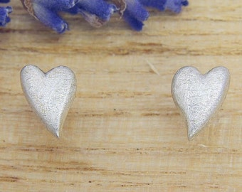 Earrings Silver 925 /-, heart, Matt scratched