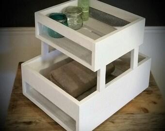 Rustic Crate Cart / Bathroom Storage / Living Room / Shelf