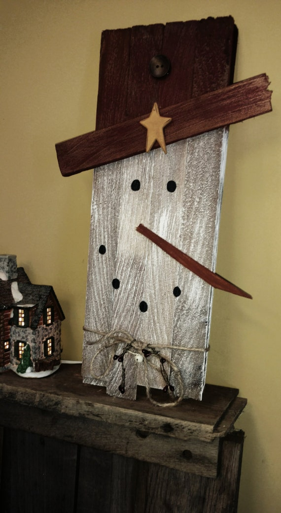 Primitive Snowman Pallet Refurbished Slat Wood Wall Art