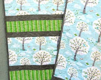 Baby Girl/Boy Quilt Trees Birds Dog Swing greens gray turquoise
