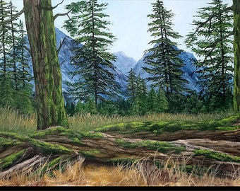 "Acrylic painting, landscape from edge of forest with dry grass, trunks of trees covered with foam couhes on the ground ""Trunks"""