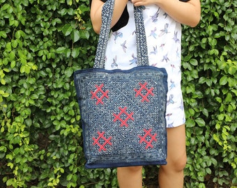 Shoulder Bag Flat Strap With Batik Hmong Fabric