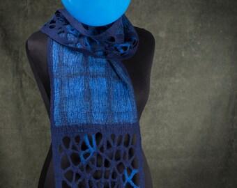 women's felted scarves, handmade, blue, wool, scarf, accessories, wearable art, autumn, winter, spring, pattern, nuno