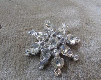 Laurie Older Snowflake Maltese Cross Bold Rhinestone Brooch Pot Metal