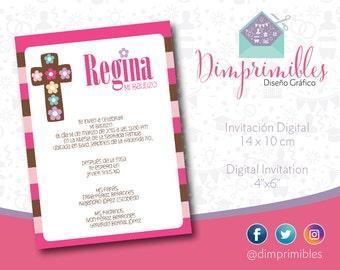 Baptism Invitation - Christening Invitation - Girl Christening - Printable Baptism - Printable Christening