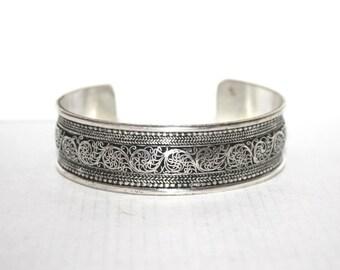 Boho bracelet, Silver Bracelet, Tribal Bracelet, Gypsy bracelet, filigree bracelet, Navajo Bracelet, Tibetan bracelet, designed bracelet