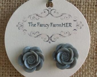 Grey rose button earrings