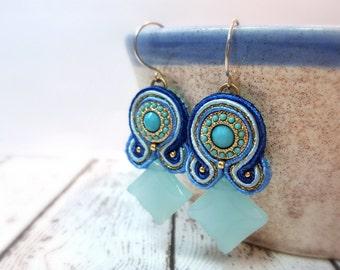 Blue & Gold Statement Chandelier Earrings, Soutache Earrings, Fiber Jewelry, Gifts For Her, Artisan Jewelry, Passementerie