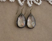 Soldered Chandelier Crystal Teardrop Earrings Boho Vintage Chic Gypsy Hippie