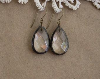 Soldered Chandelier Crystal Teardrop Earrings Boho Vintage Chic Gypsy Hippie
