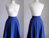 SALE size SMALL Navy Market Skirt Full Aline Semi Circle Skirt Womens Cotton Jersey Swing Skirt knee length twirl skirt - Ready to Ship