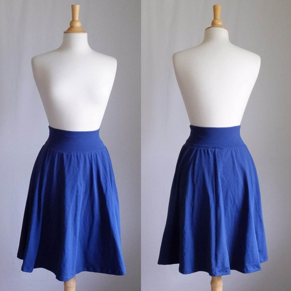 SALE size SMALL Navy Market Skirt Full Aline Semi Circle Skirt Womens Cotton Jersey Swing Skirt knee length twirl skirt - Ready to Ship
