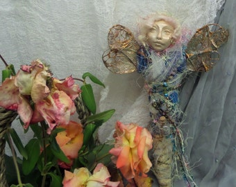 OOak Spirit Art Doll, Dragonfly Nature Spirit, Mix Media, Assemblage Art by Griselda