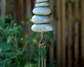 Wind Chime Beach Stone Natural Garden Decor Windchime Art