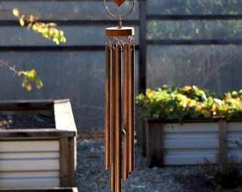 Wind Chimes Sea Glass Kaleidoscope With Large Copper Chimes beach glass stained glass windchimes