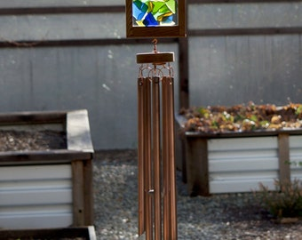 Wind Chime Sea Glass Large Copper Chimes beach glass stained glass