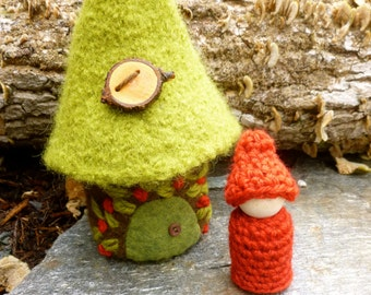 Mini Felted Woodland Gnome Cottage house ready to ship