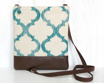 Crossbody Bag, Sling Purse, Cross Body Purse - Seventh Heaven in Teal, Brown and Natural
