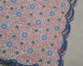 Floral Handmade Ladies Handkerchief Scalloped Edge - Blue Pink and Green Flowers Hankie - Customizable - Wedding Feminine Dainty Gift