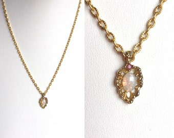 Vintage Opal and Ruby Necklace - Dainty Gold Pendant, Leaf Shape with Oval Opal and Pink Red Ruby Stone, Bright Gold Chain Toggle Clasp