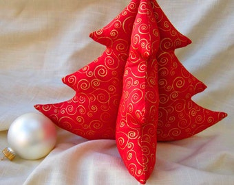 Red and Gold Stuffed Tree - Swirls Spirals, Large Christmas Tree Holiday Centerpiece, 3D Fabric Plush Tree, Cotton 3D New Year's Decor