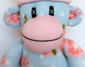 Shabby Chic Floral Sock Monkey with pin striped pom pom hat (made to order)