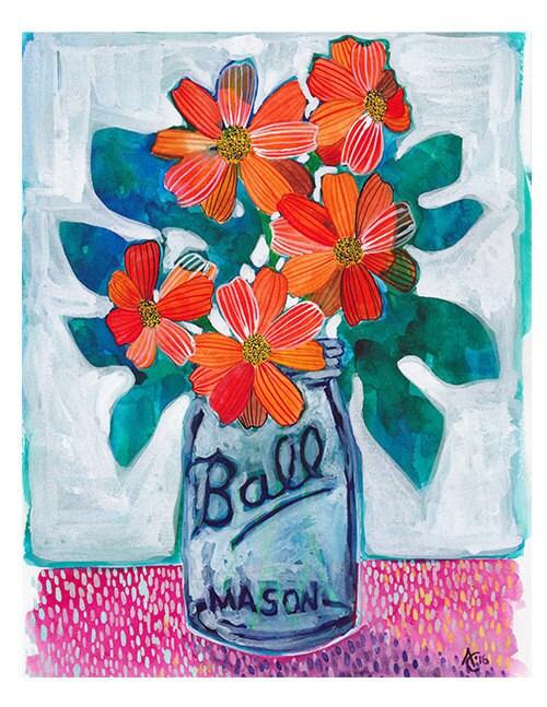 Mexican Sunflowers Watercolour Art Print Watercolor Wall Art Floral Mason Jar Artwork