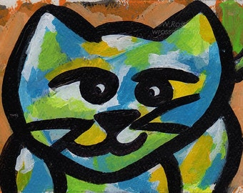 Larry the Cat,  Cat Painting, Colorful, Art, Original Painting, Small Paintings, Cat, Portrait, Pets,  Whimsy, Dog and Cat, Winjimir
