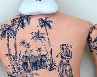 Big Man Summer Santa with Tropical Tattoos and Beard doll plush