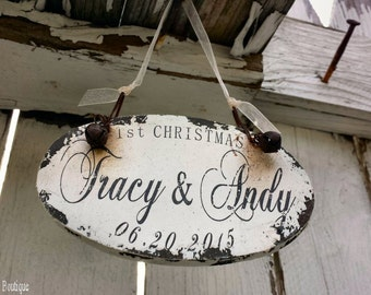 OUR 1st CHRISTMAS ORNAMENT | Dating Ornaments | Boyfriend & Girlfriend Ornaments | Personalized Ornaments | Rustic Christmas Ornaments