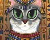 Cat Bast Art Egyptian Goddess Bastet Cat Painting Ancient Egypt Mau Big Eye Art Fantasy Cat Art Print 8x10 Cat Lovers Art