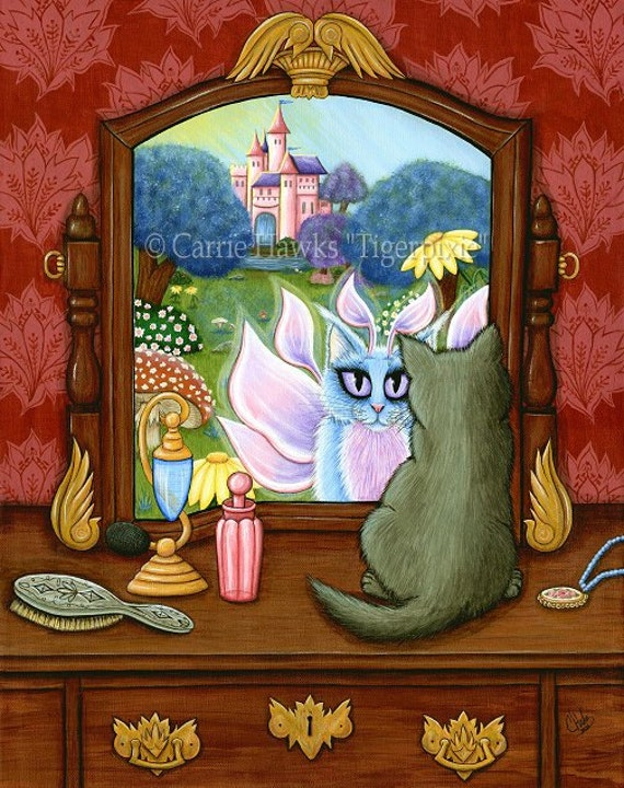 Cat Fairy Art Cat Painting Fantasy Cats Art Vanity Castle Limited Editon Canvas Giclee Art Print 11x14 Art For Cat Lover