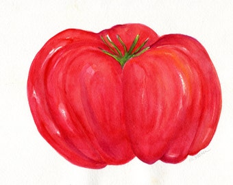 Tomato watercolor Painting Original, Kitchen decor, food art, tomato art original watercolor painting of tomato 8 x 10 tomato illustration