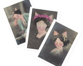 Cat Greetings Cards - Glamour Puss set of  3 cards - victoriana vintage postcards painting cats christmas