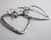 Stamped Open Hearts Earrings - Sterling Silver Patterned Spirals As featured in The Register's Christmas Gift Guide