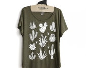 SALE Medium -  Tri-Blend Olive Dolman Tee with Cactus Screen Print-