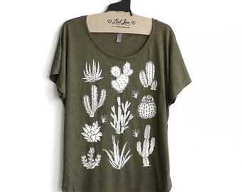 M or L -  Tri-Blend Olive Dolman Tee with Cactus Screen Print-