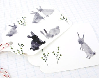 Gift Tags: Instant download Easter Bunny Gift Tags Cute Grey Easter Bunny