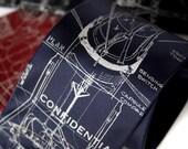 Rocket Blueprint Necktie. Confidential NASA Project Mercury spacecraft men's tie. Declassified document silkscreen print. Space gift.