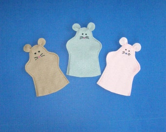 Three NOT Blind Mice Puppets for party favors