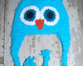 blue, fuzzy owl hat, baby boy beanie, crochet owl, animal hat, halloween, christmas, costume, crochet, ear flap hat, fuzzy, girl,  24 months