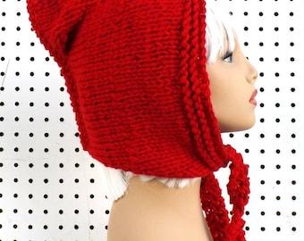 Knit Hood,  Knit Hat Womens Hat,  Oversized Knitting Oversized Hood Scarf,  Hooded Scarf,  Red Hood,  Red Hat,  Mermaid of Atlantis