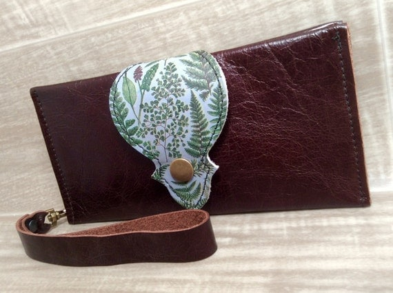 Leather Long Wallet, Phone Case with Wrist Strap & Zipper Pocket, Brown / Ferns Digital Photo Print on 100% Genuine Leather
