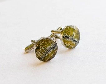Yellow Circuit Board Cufflinks - Upcycled Motherboard Jewelry - Nerdy Wedding Accessories - Geeky Fathers Day Gift