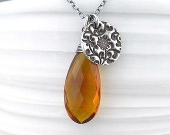 Citrine Necklace Long Silver Necklace Silver Pendant Necklace Long Necklace November Birthstone Jewelry Silver Charm Necklace Handmade Solo