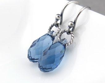 September Birthstone Earrings Blue Sapphire Earrings Sterling Silver Jewelry Blue Crystal Earrings Tiny Drop Earrings - Petite Drops